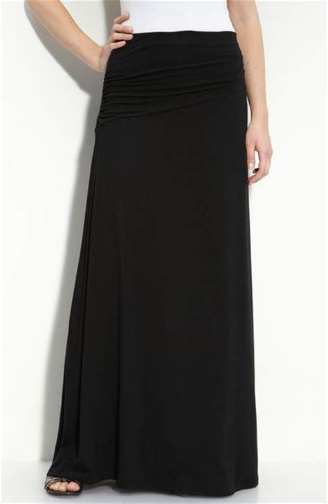 bobeau asymmetric knit maxi skirt in black start of color