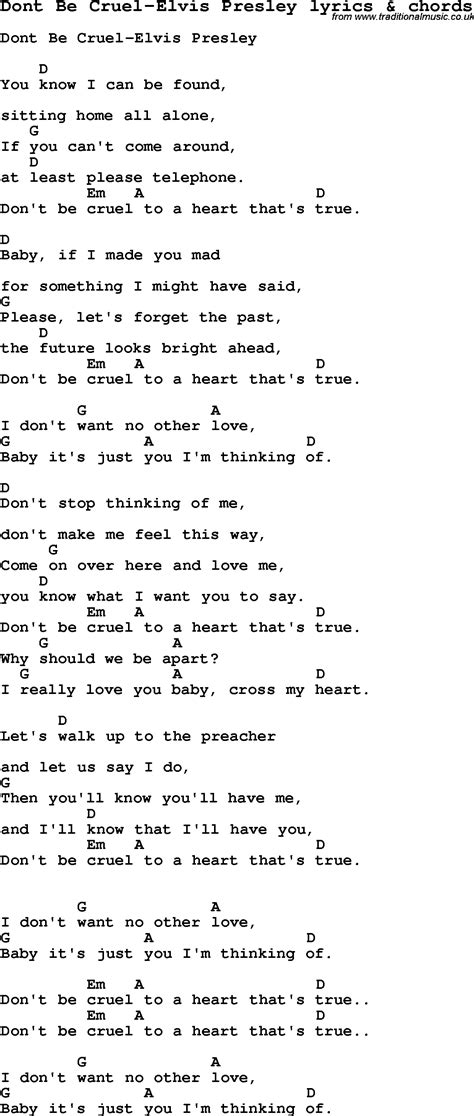printable elvis lyrics love song lyrics for dont be cruel elvis presley with chords