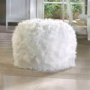 fuzzy white ottoman footstool soft chic cozy bench