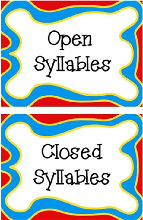 Cupboard Syllable Classroom Freebies Open Closed Syllables