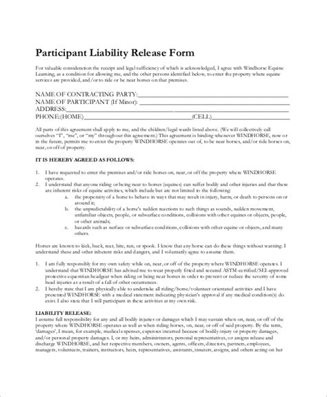 equine release form 7 sle equine release forms sle templates