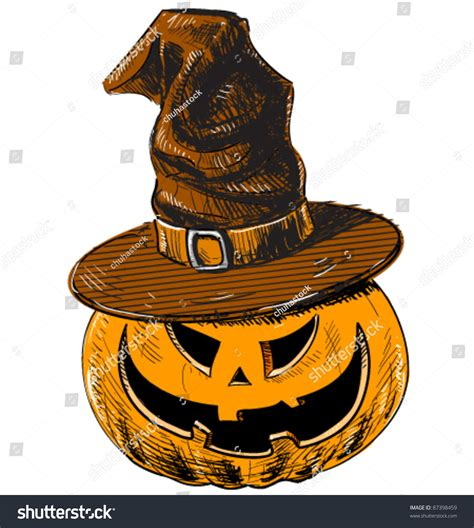 doodle witch hat pumpkin and witch magic hat color sketch in