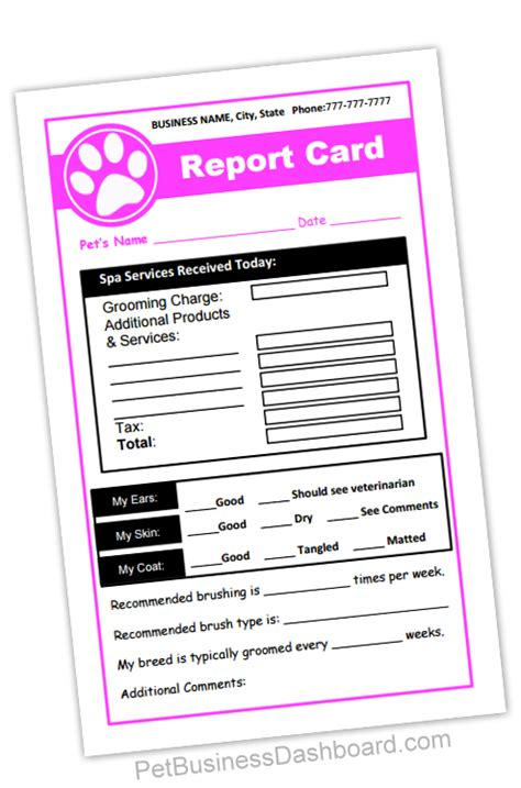 business report card template grooming business templates