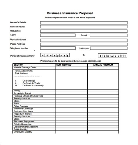 12 Insurance Proposal Templates Sle Templates Commercial Insurance Template