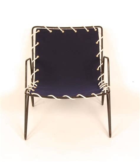 Modernist Iron And Blue Canvas Patio Lounge Chair 1950s Canvas Patio Chairs