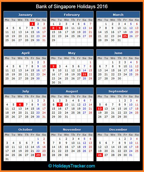 bank of singapore holidays 2016 holidays tracker