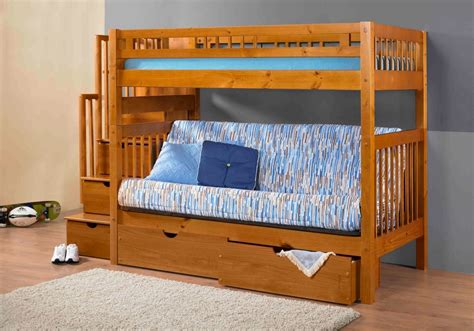 Staircase Bunk Bed Pecan Mattress Superstore