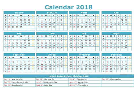 Calendar 2018 By Week Number 2018 Calendar With Holidays Pictures To Pin On