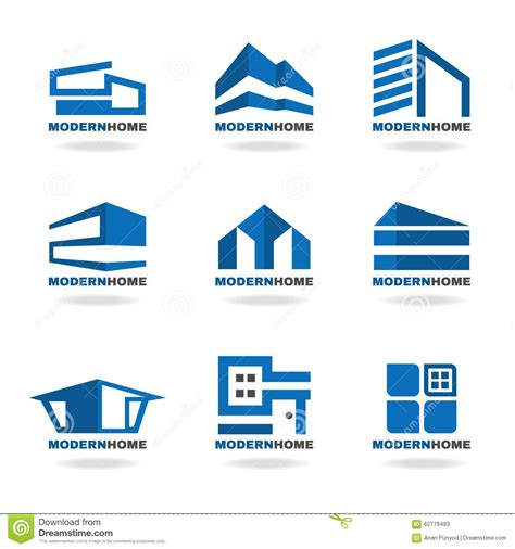 modern home design vector blue modern home logo set vector design stock vector