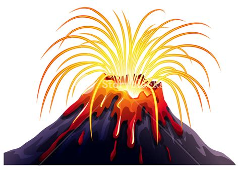 clipart volcano volcano eruption with hot lava illustration royalty free