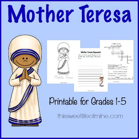 biography about mothers free mother teresa printable pack for grades 1 5 blessed