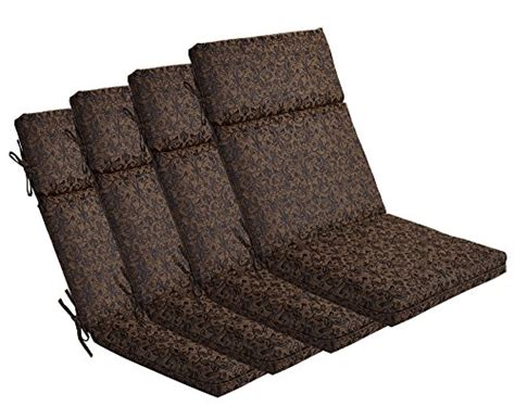 Black Patio Chair Cushions Bossima Indoor Outdoor Black Gold Damask High Back Chair Cushion Set Of 4 Sprin Ebay