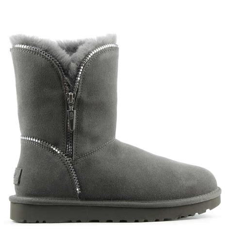 Zipper Ankle Boots ugg florence grey suede curved zipper ankle boot