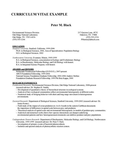 Research For Biology Faculty Template Academic Cv Writing