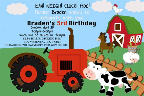 Farm Theme Wedding Invitations by Farm Theme Birthday Invitation
