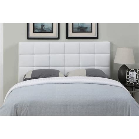 White Leather Full Queen Size Square Tufted Headboard