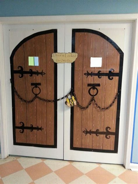 How To Make A Door Out Of Paper - for castle theme classroom castle doors are made from