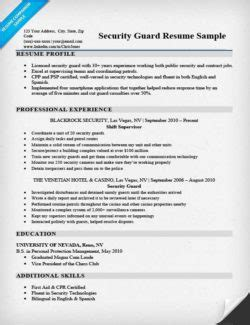 security guard curriculum vitae sle security guard cover letter sle tips resume companion