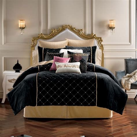 New Juicy Couture Comforter Bedding Sham Set Black Gold