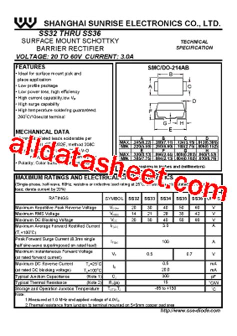 diode ss34 ss34 datasheet pdf shanghai electronics