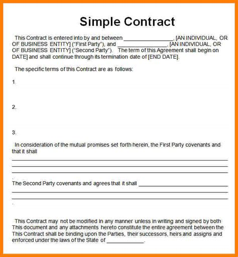 business contracts templates 7 simple business contract template meal plan spreadsheet