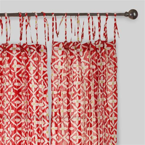 crinkle curtains red and white crinkle voile cotton curtains set of 2