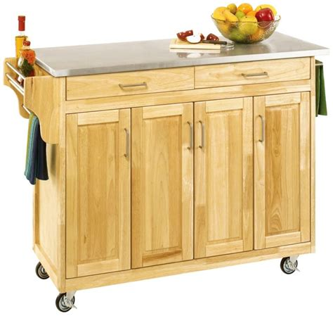 home styles designer utility cart with stainless