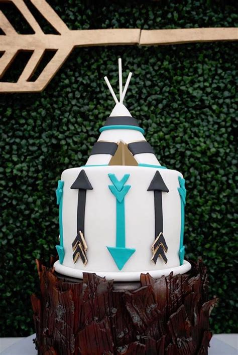 boho teepee cake   wild  bohemian birthday party  karas party ideas