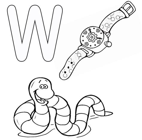 W Is For Worm Coloring Page by W Is For Whale Coloring Page Coloring Home