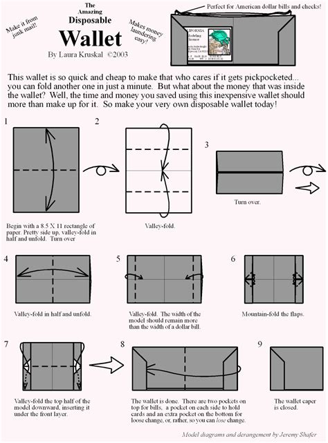 How To Make A Paper Wallet With Pockets - wallet origami diagram paper origami guide