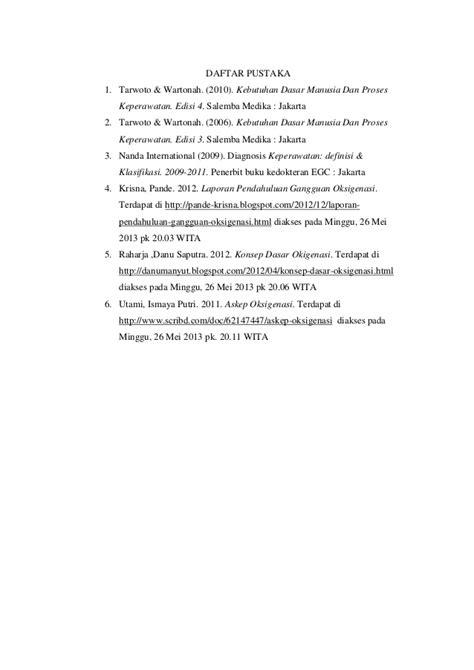Kebutuhan Dasar Manusia Dan Proses Keperawatan Edisi Kelima laporan pendahuluan oksigenasi 2