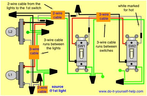 wiring diagram for lights power into light