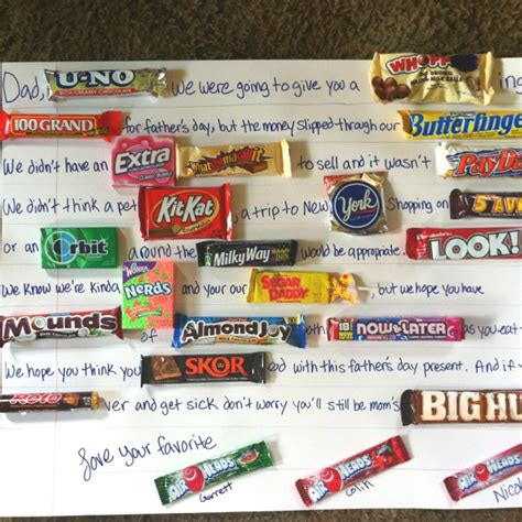 father s day candy card holidays pinterest