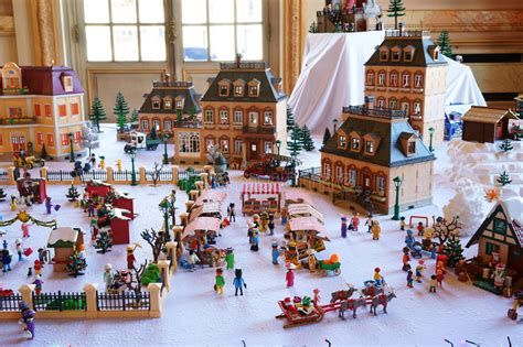 playmobil nostalgie haus playmobil town in winter editorial photography image of