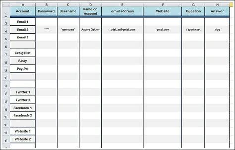 Free Printable Password Worksheet Andrea Dekker Email Calendar Template
