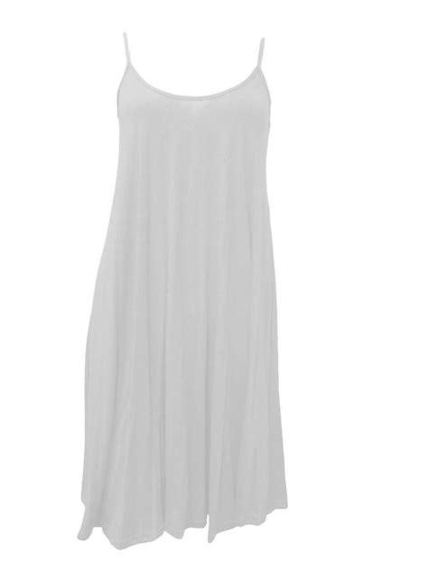 swing top dress new women ladies sleeveless plain hanky hem flare long