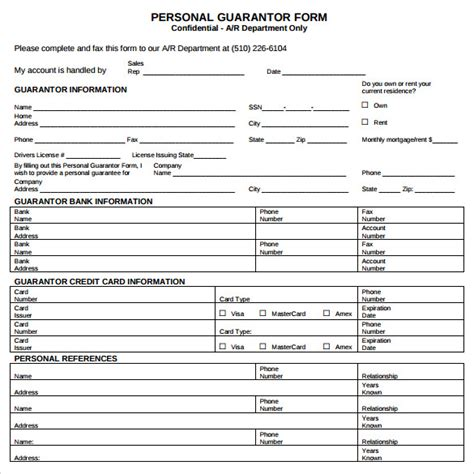 Personal Credit Guarantee Form Sle Personal Guarantee Form 9 Free