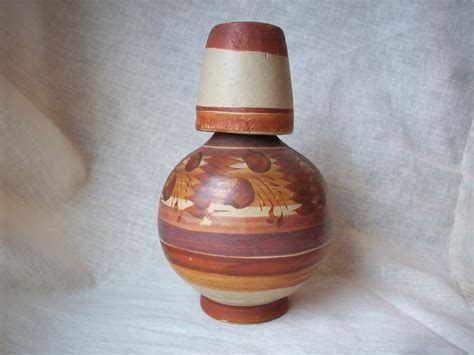 Handmade Mexican Pottery - handmade mexican clay pottery water jug with cup