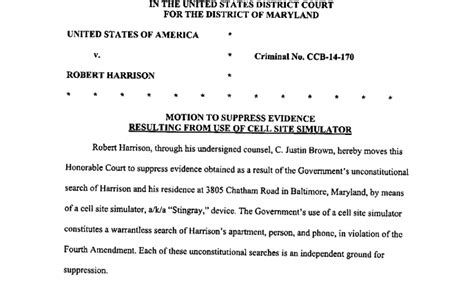 Defense Motion To Suppress Stingray Evidence In Md Case Baltimore Sun Motion To Suppress Template