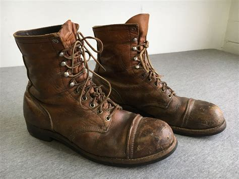 Wing Boots Leather Original wing boots vintage brown leather iron ranger steel cap