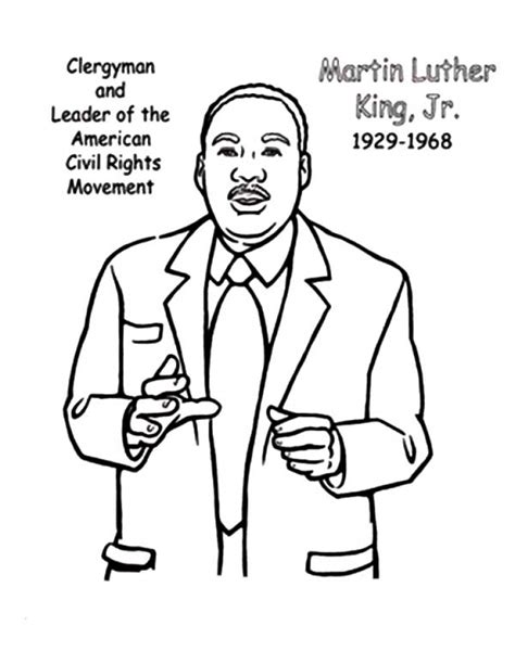 Simple Martin Luther King Jr Coloring Pages Free For Kids Martin Luther King Jr Coloring Pages Free