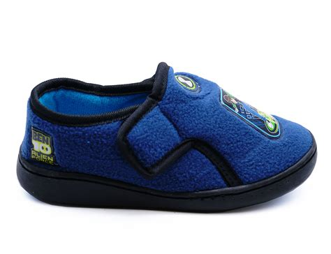 juniors slippers boys childrens ben 10 blue comfy fleece warm slippers