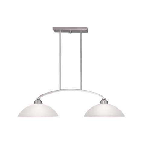 Brushed Nickel Kitchen Island Lighting Shop Livex Lighting Somerset 34 In W 2 Light Brushed Nickel Kitchen Island Light With White