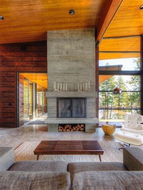 tipos de chimeneas hormigon grande mesita madera idea casa