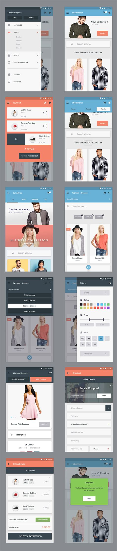 home design shopping app free ecommerce app ui designs graphicsfuel