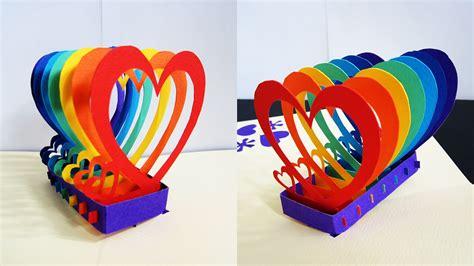 rainbow pop up card template pop up card rainbow hearts learn how to make a popu