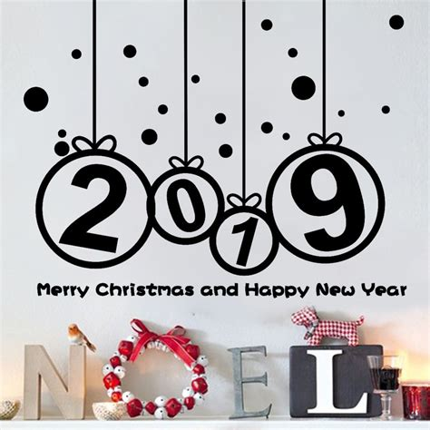 happy  year wall window stickers  merry christmas tree wall sticker home shop windows