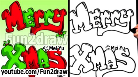 how to draw graffiti letters merry xmas with christmas