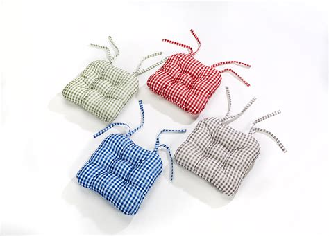 Tie On Chair Cushions by Luxury Retro Look Gingham Check Seat Pad Garden Kitchen
