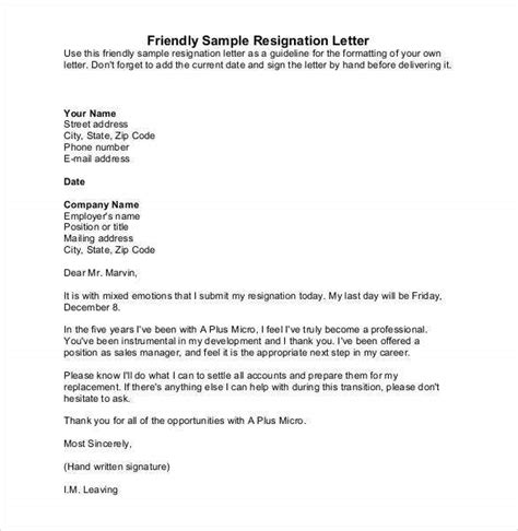 simple resignation letter templates